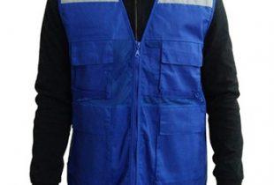 Áo phản quang túi hộp gile phối vải lưới màu xanh blue