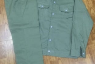 Quần áo bảo hộ kaki cotton màu ghi ánh xanh