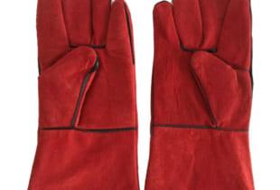Găng tay da thợ hàn 02 lớp màu đỏ dài 34cm