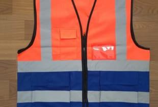 áo phản quang lưới phối màu cam + xanh