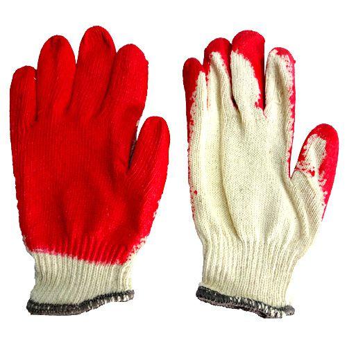 Găng tay sợi phủ nhựa đỏ cổ tay phối màu xám